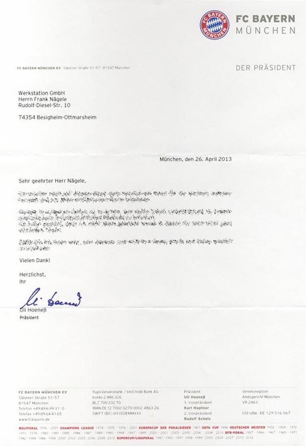 Brief Hoeneß